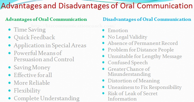 advantages and disadvantages of oral presentation
