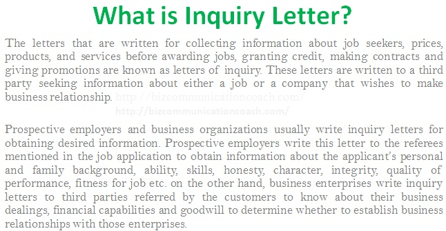 how to make a business letter of inquiry
