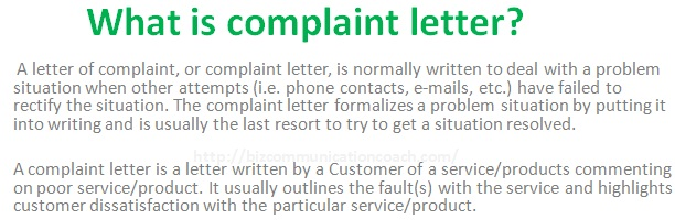 What is complaint letter in business communication business communication what is complaint letter spiritdancerdesigns Images